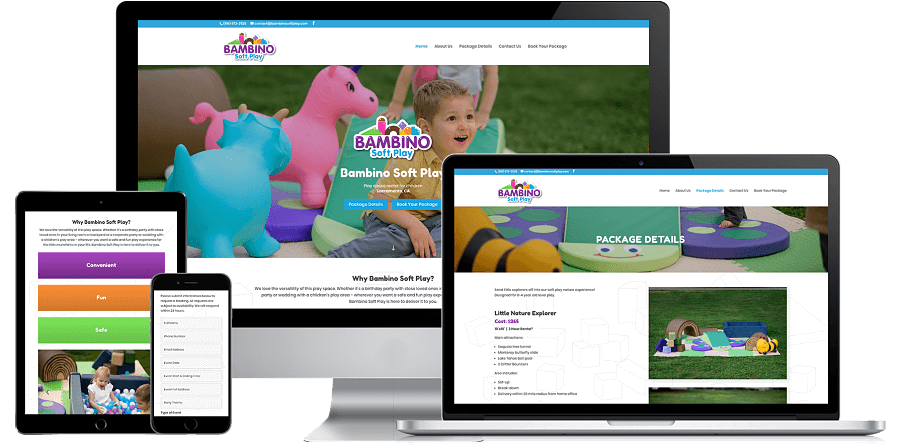 Bambino Soft Play Website Preview