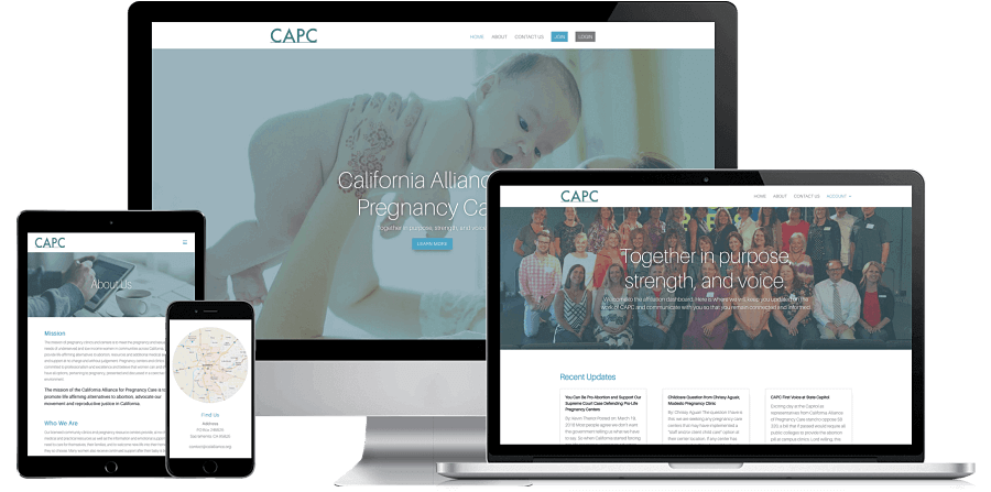 California Alliance of Pregnancy Care Website Preview