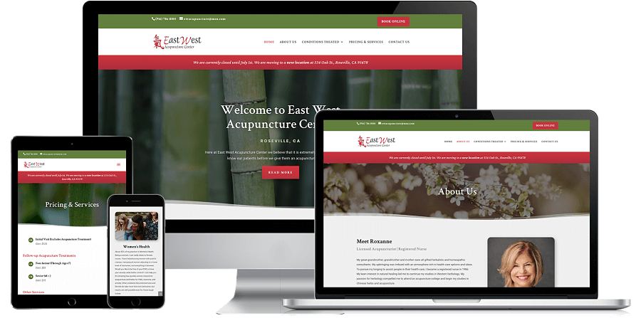 East West Acupuncture Center Website Preview