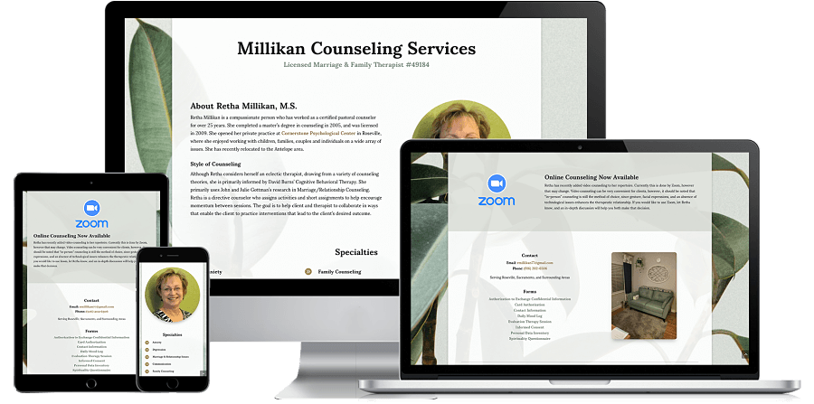 Millikan Counseling Services Website Preview