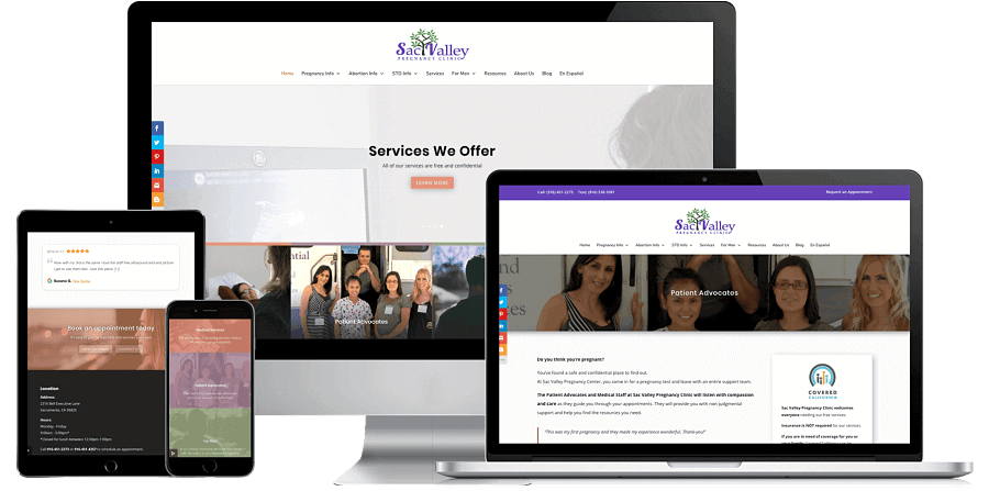 Sac Valley Pregnancy Clinic Website Preview